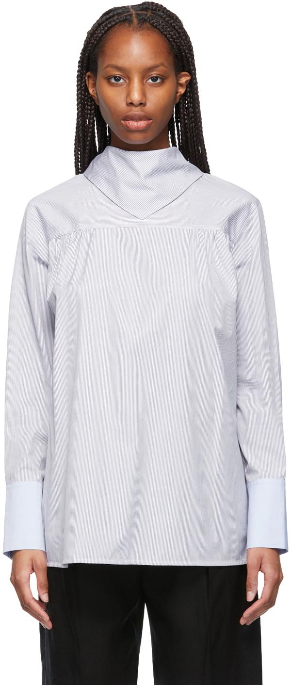 Victoria Victoria Beckham 海军蓝 & 白色 Bib-Detail 拼布衬衫