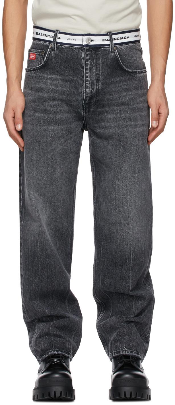 Balenciaga 灰色 Logo Waistband 有机棉牛仔裤