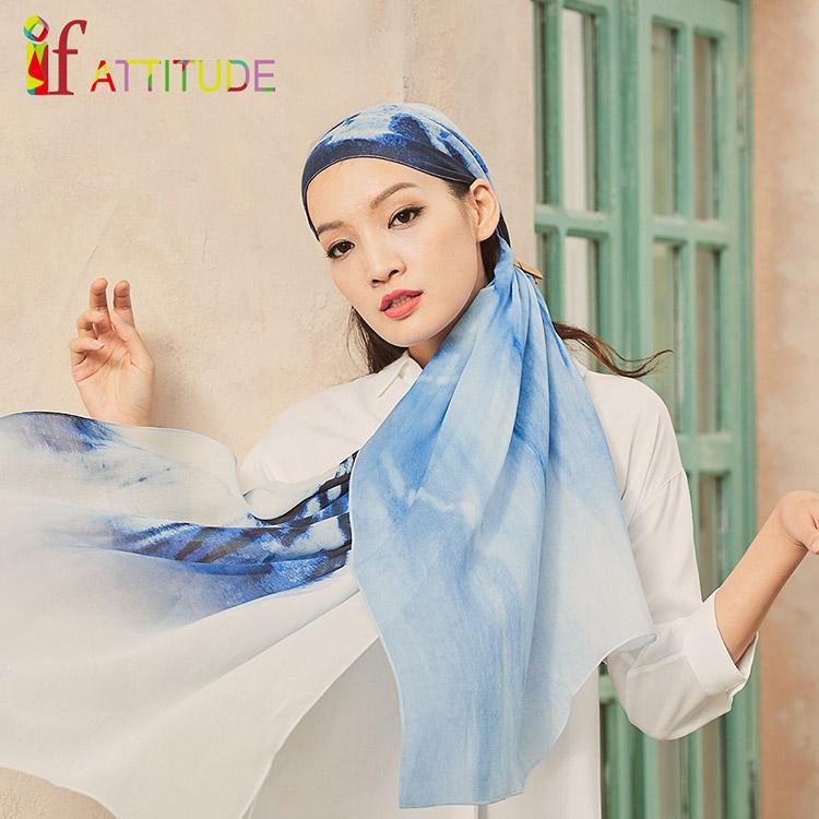 ★新品上市★if ATTi TUDE-100%蠶絲-藍色精靈-喬琪紗絲巾53x194cm(淺藍色)