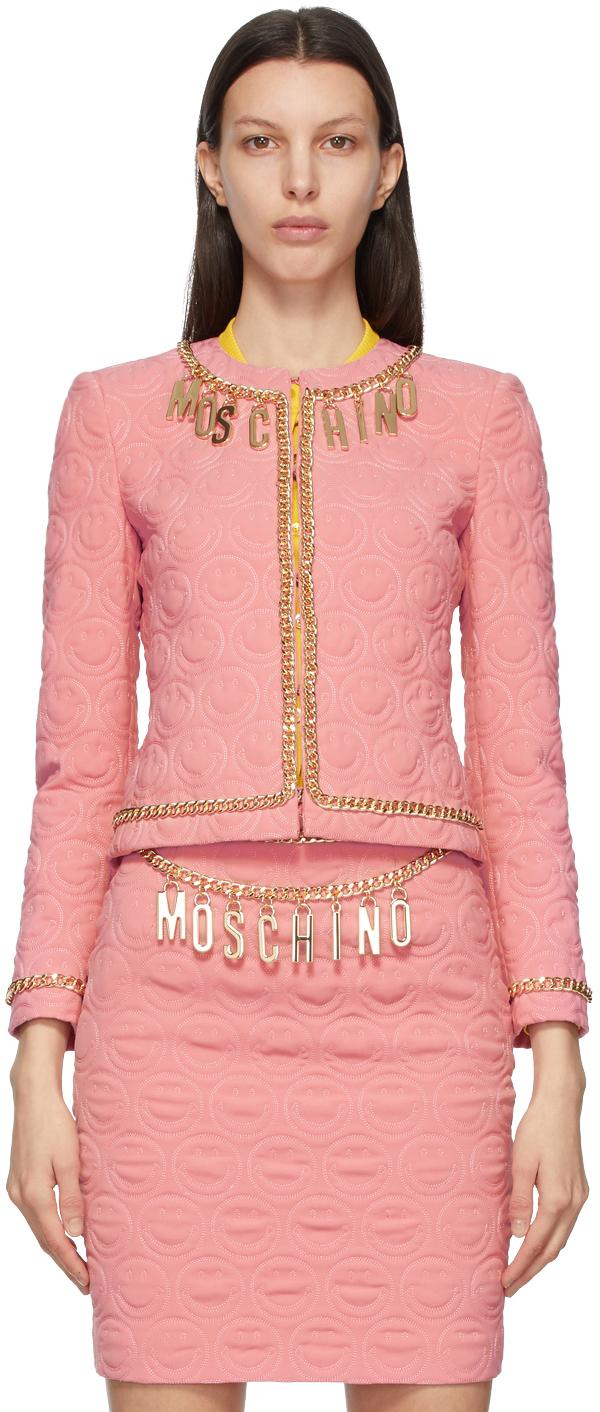 Moschino 粉色 Smiley© 联名 Charm 西装外套
