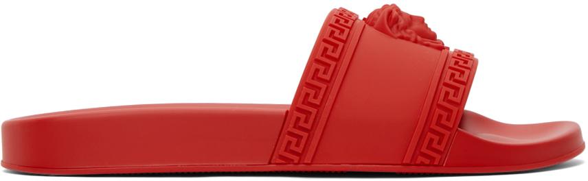 Versace 红色 Palazzo 拖鞋