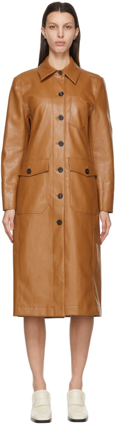 LVIR 棕色 Patchwork 合成皮革大衣