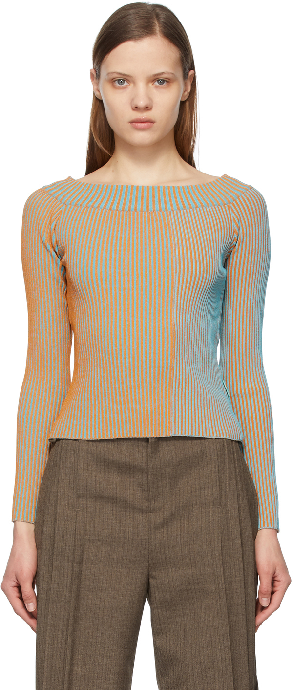 Andersson Bell 橙色 & 蓝色 Hailey 露肩针织衫