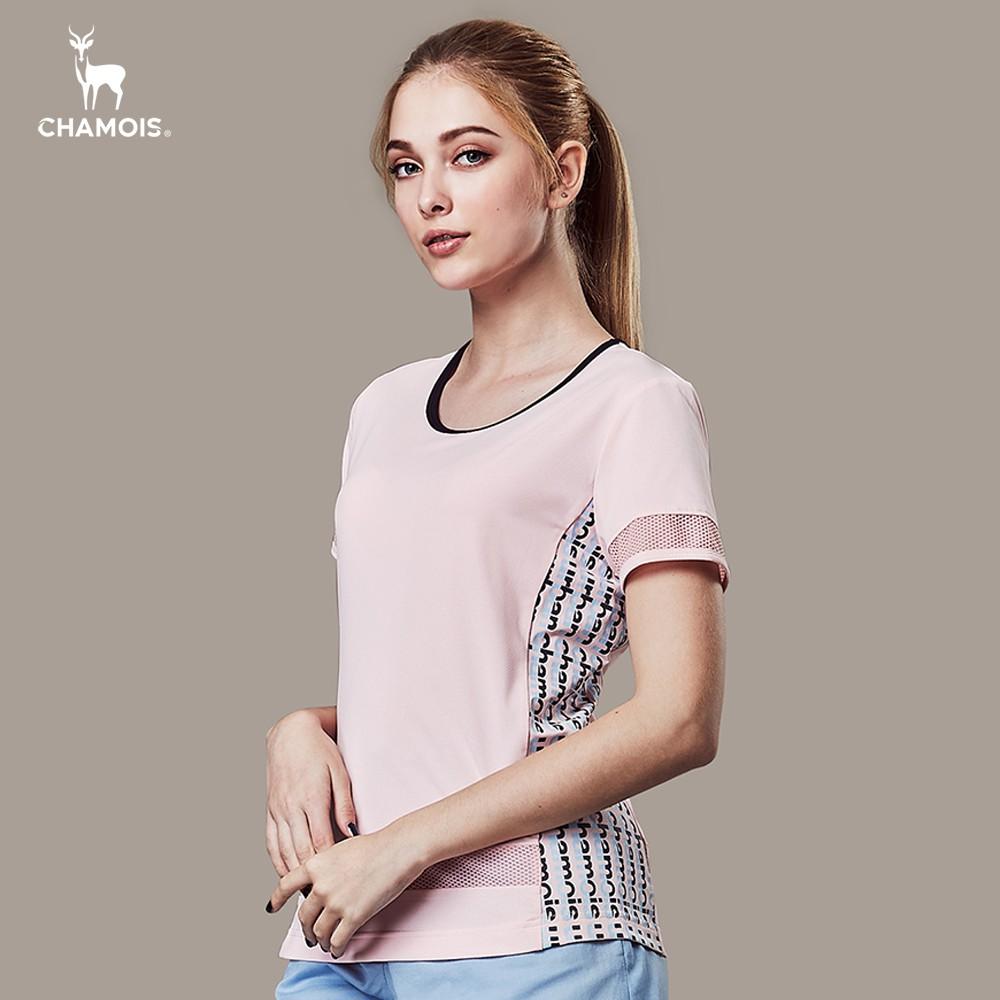 【Chamois加摩仕】女 異質拼接涼感吸濕排汗彈力T-shirt (淺粉)