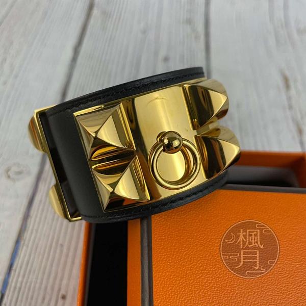 BRAND楓月 HERMES 愛馬仕 □Q 黑X金CDC 手環 手圈 手鐲 鉚釘 配飾 配件 飾品 飾物 小物 經典造型