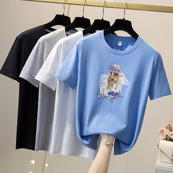 短袖T恤 韓版休閒上衣大尺碼女裝L-4XL夏季新款純棉短袖T恤21064MR26韓衣裳