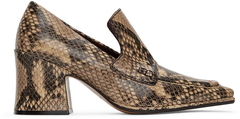 Dries Van Noten 驼色 Oxford 蛇纹中跟鞋