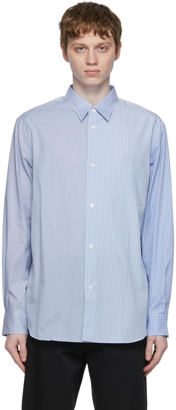Comme des Garçons Homme 蓝色 Check & Stripe Mix 衬衫