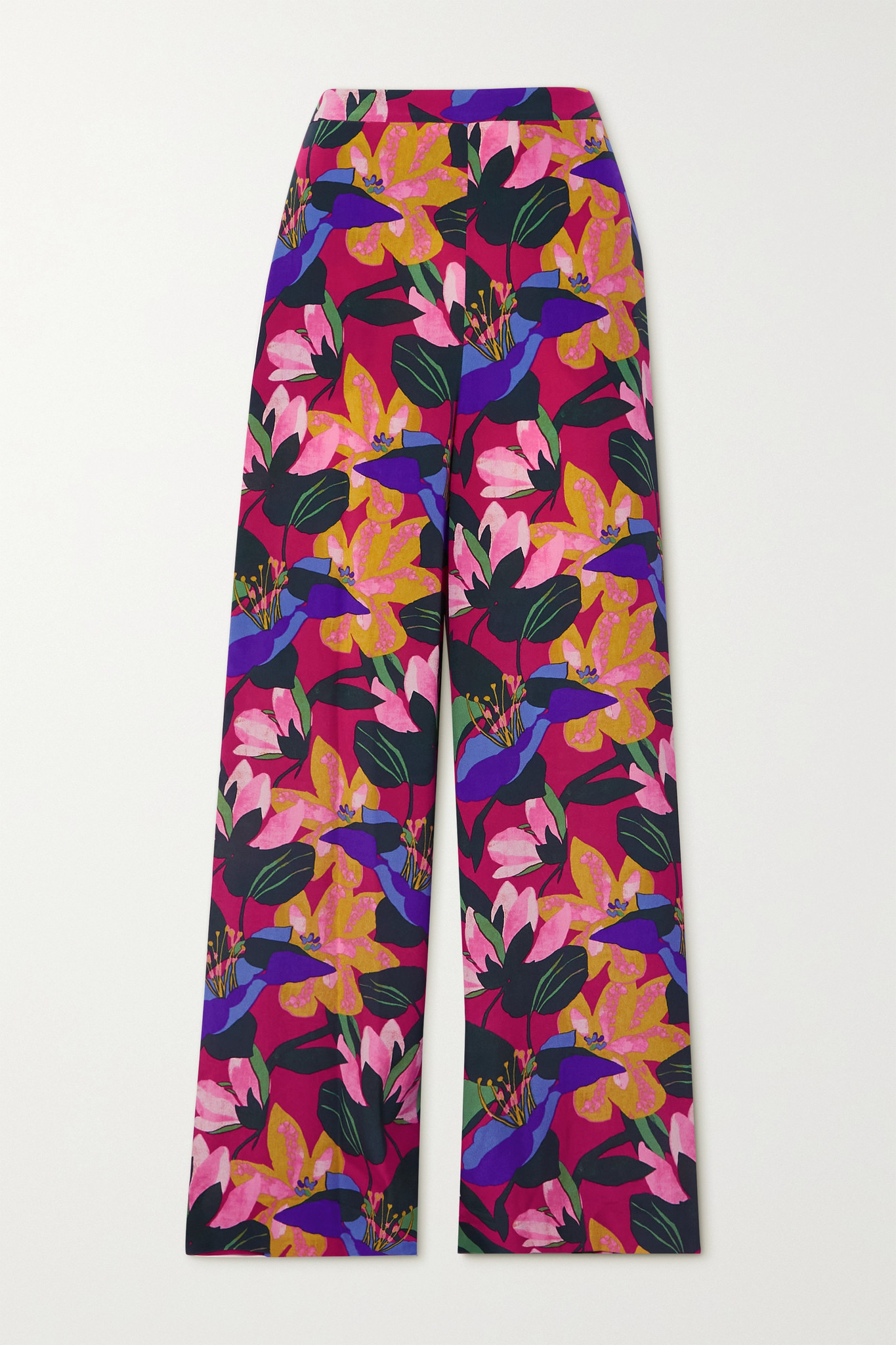 DIANE VON FURSTENBERG - Pauline Floral-print Silk Crepe De Chine Wide-leg Pants - Pink - US4