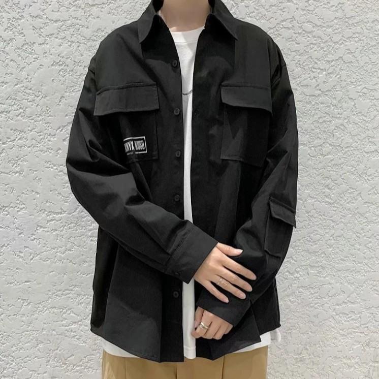 工裝長袖襯衫男士休閒寬鬆百搭襯衣黑色上衣薄款秋裝復古外套(MC72)【FIZZE】
