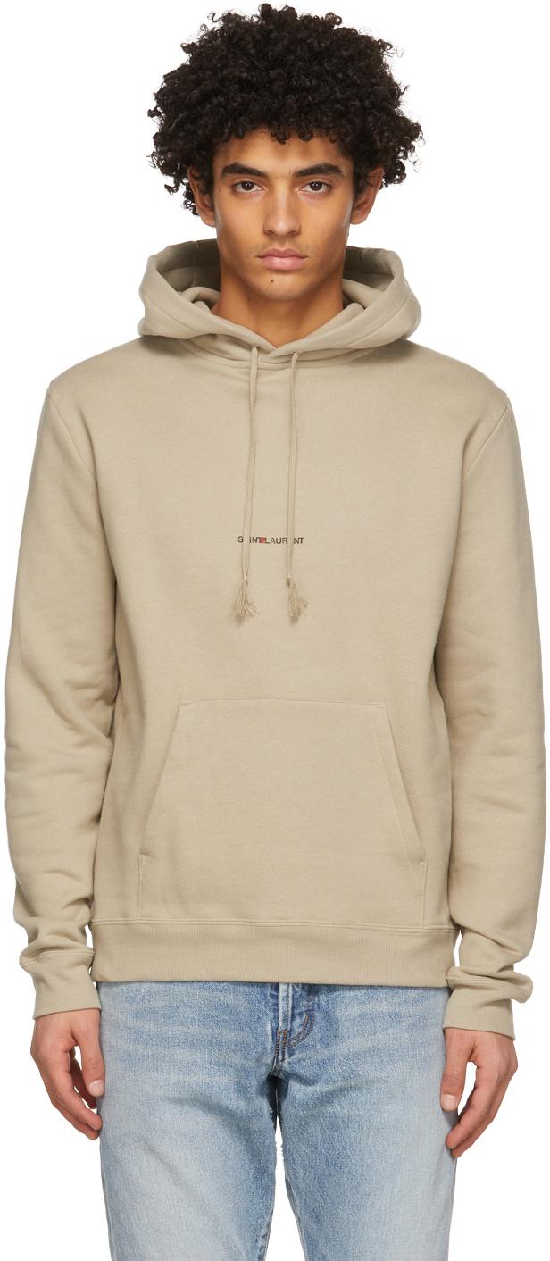 Saint Laurent 灰褐色 Classic 徽标连帽衫