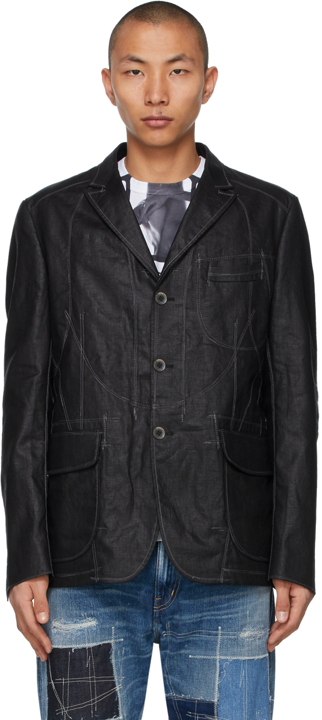 Junya Watanabe 黑色 Stitched 亚麻西装外套
