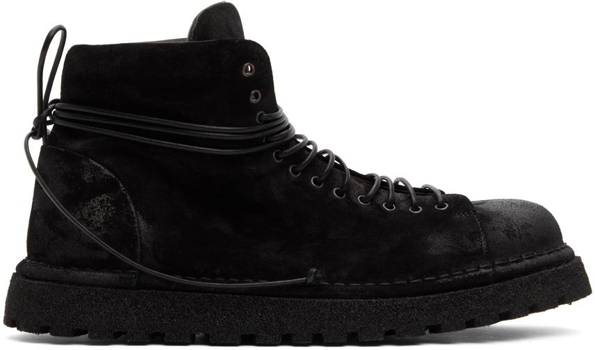Marsèll 黑色 Gomme 系列 Pallottola 绒面革踝靴