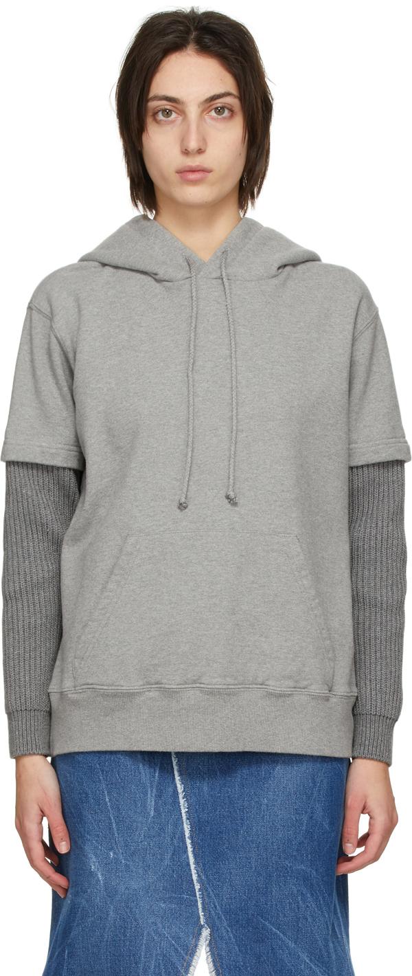 MM6 Maison Margiela 灰色叠层连帽衫