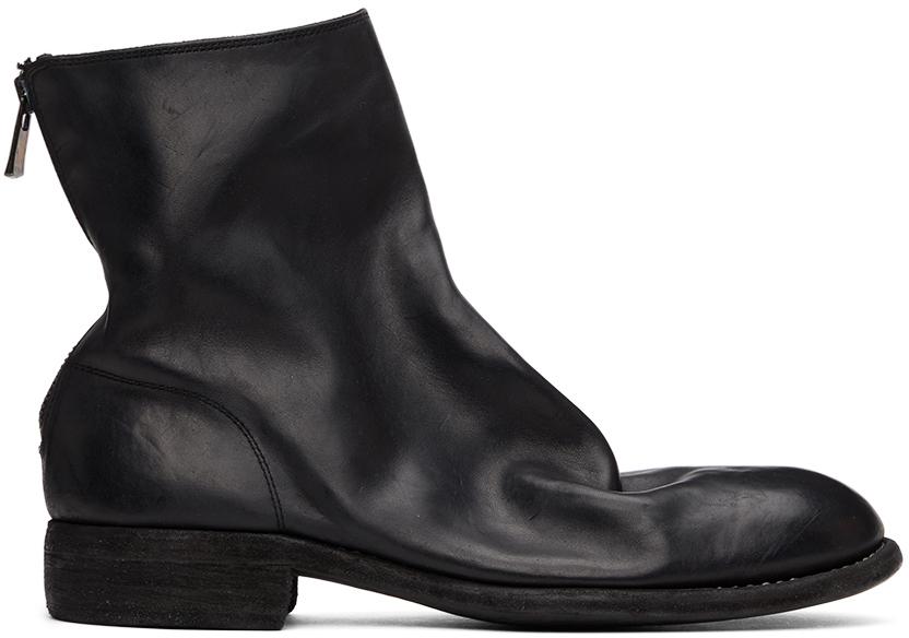 Guidi 黑色 986 后拉链踝靴