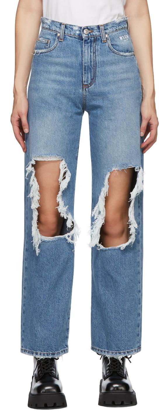 MSGM 蓝色 Torn 牛仔裤