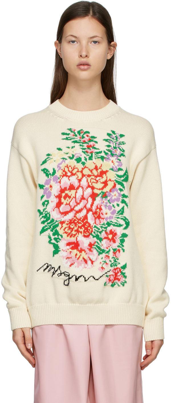 MSGM 灰白色 Floral 针织衫