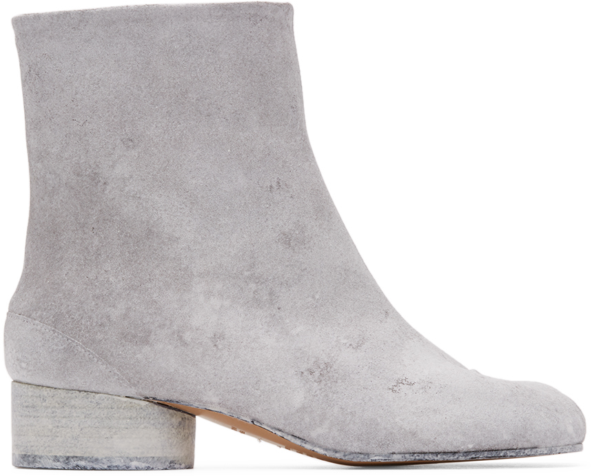 Maison Margiela SSENSE 独家发售白色 Tabi 涂绘低跟踝靴
