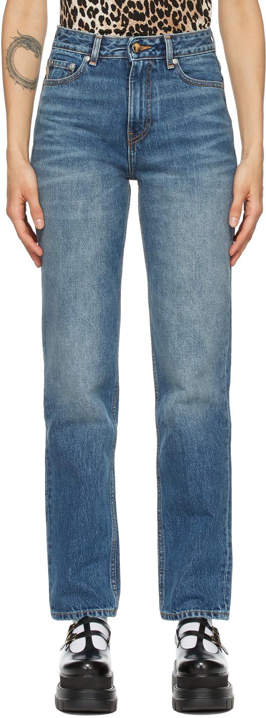GANNI 蓝色高腰直筒牛仔裤