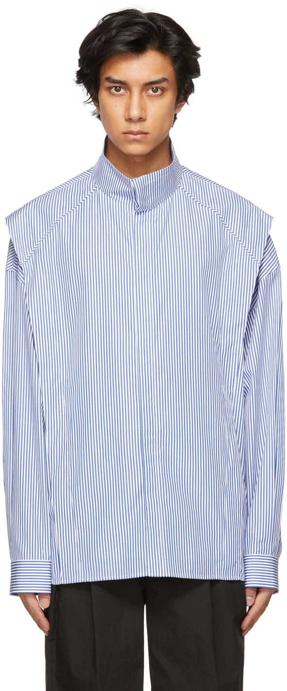 Juun.J 蓝色 & 白色 Layered 条纹衬衫