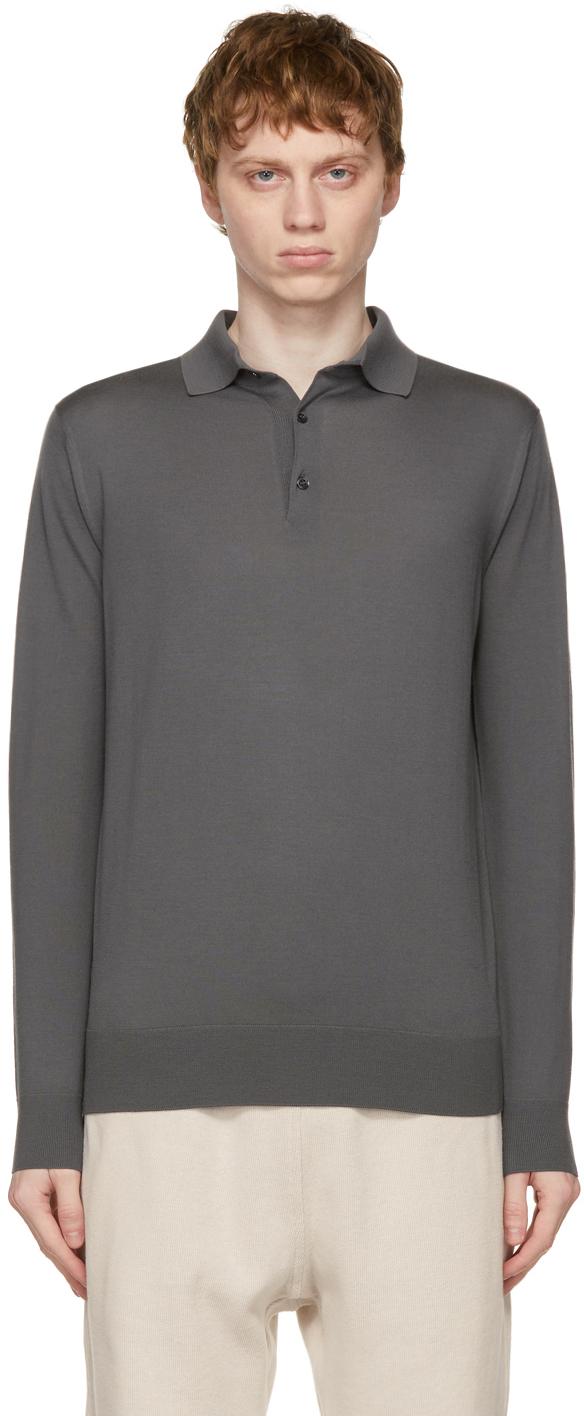 Loro Piana 灰色羊绒长袖 Polo 衫