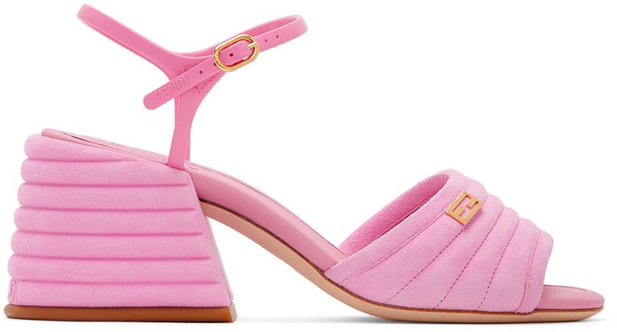 Fendi 粉色绒面革露跟中跟凉鞋