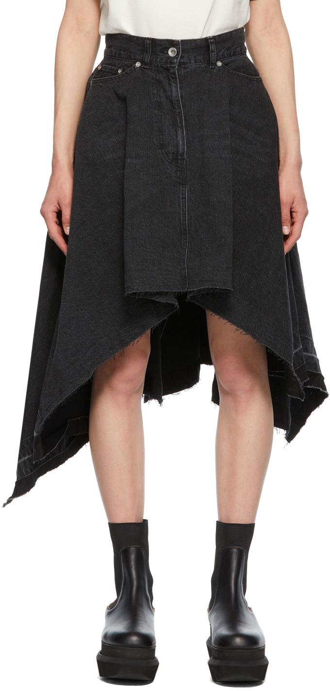 Sacai 黑色不规则垂坠牛仔半身裙