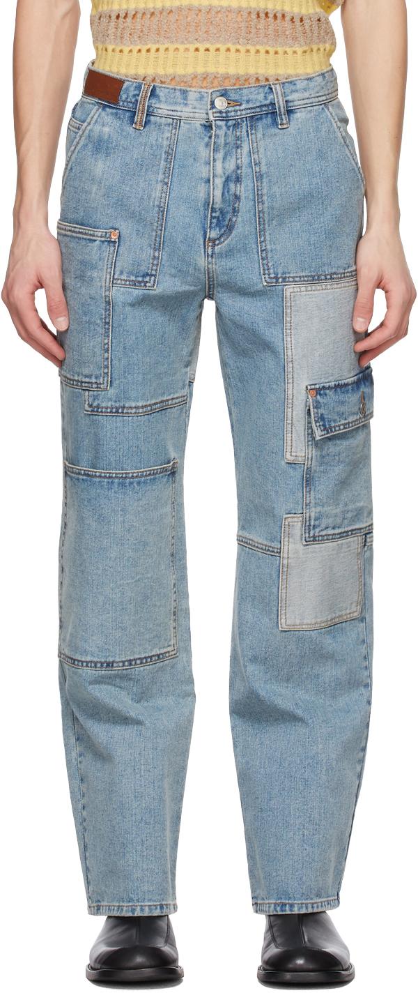 Andersson Bell 蓝色拼布牛仔裤