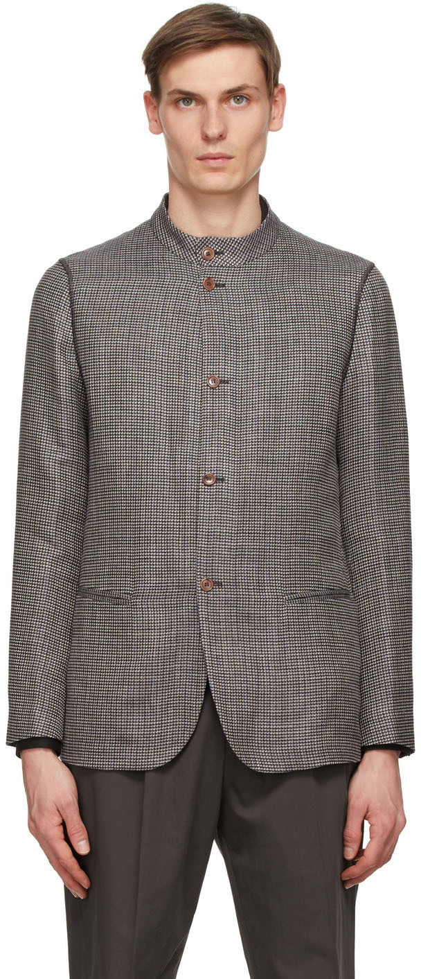 Giorgio Armani 棕色 Beckham 格纹西装外套