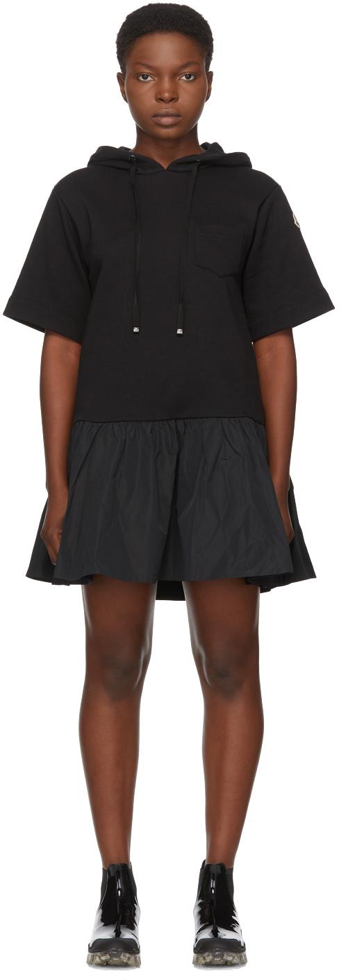 Moncler 黑色短款连帽连衣裙