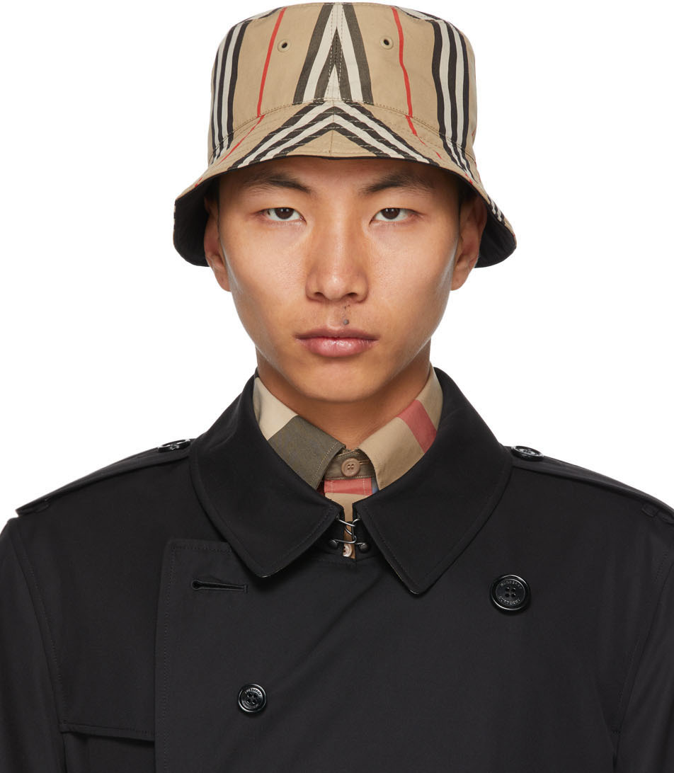 Burberry 驼色 & 黑色 Icon Stripe 双面渔夫帽
