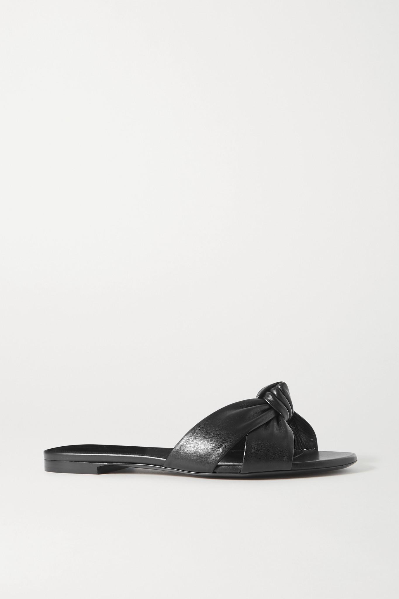 SAINT LAURENT - Power Knotted Leather Slides - Black - IT38.5