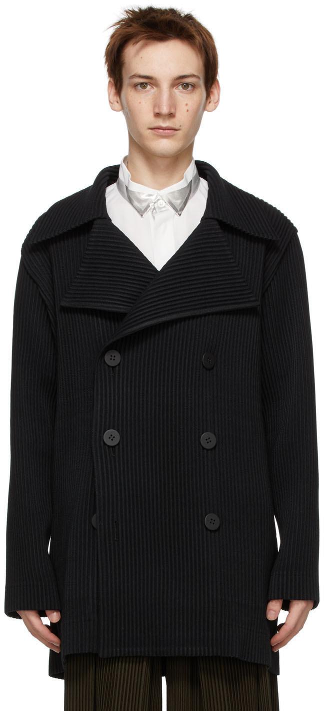 Homme Plissé Issey Miyake 黑色 Wool-Like 双排扣大衣