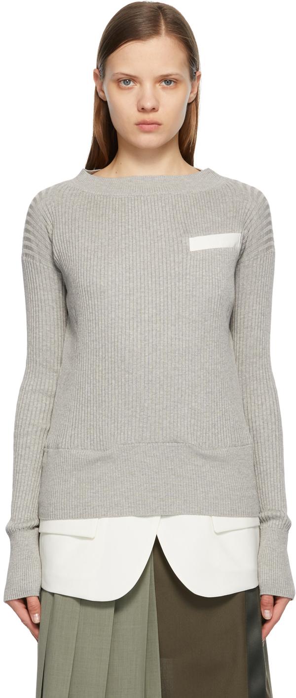 Sacai 灰色 Suiting 针织衫