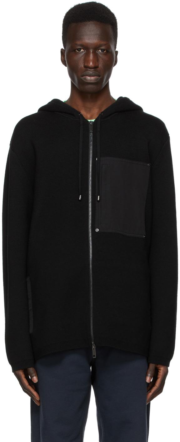Burberry 黑色 Contrast Pocket 羊毛拉链连帽衫