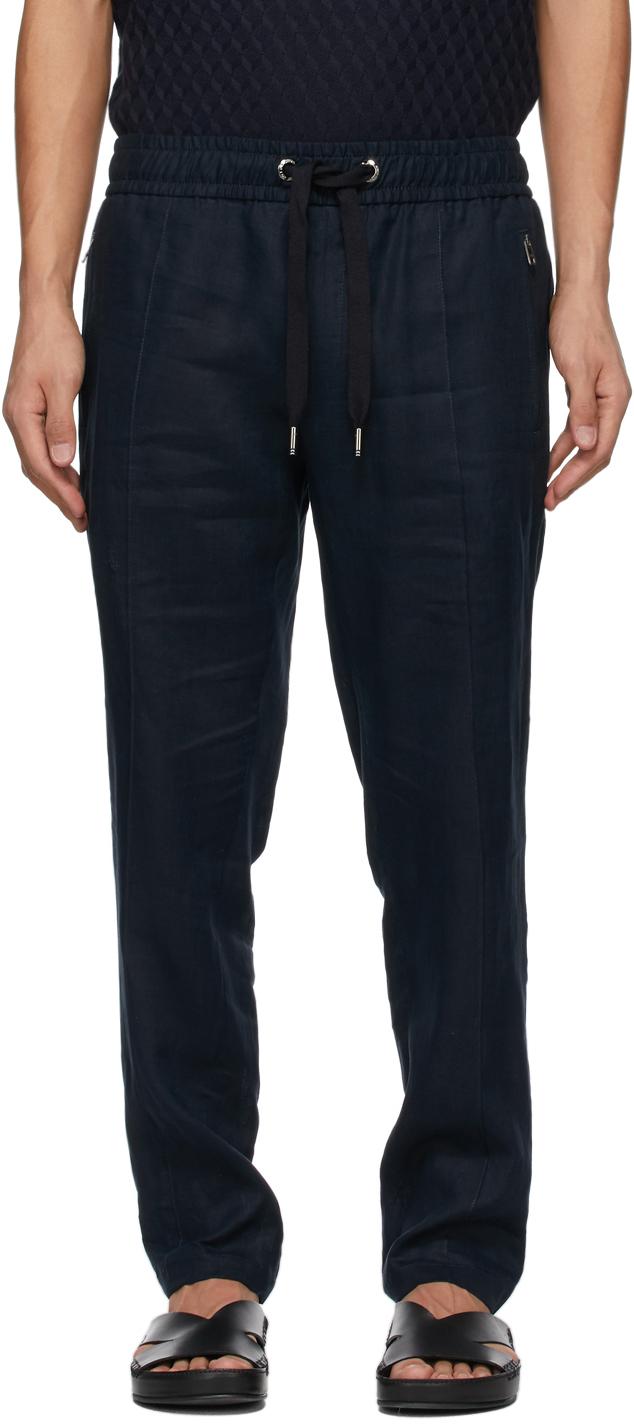 Dolce & Gabbana 海军蓝 Jogging 贴饰亚麻运动裤