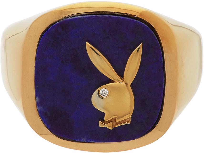 Hatton Labs SSENSE 独家发售金色 & 蓝色 Playboy 联名 Membership 戒指