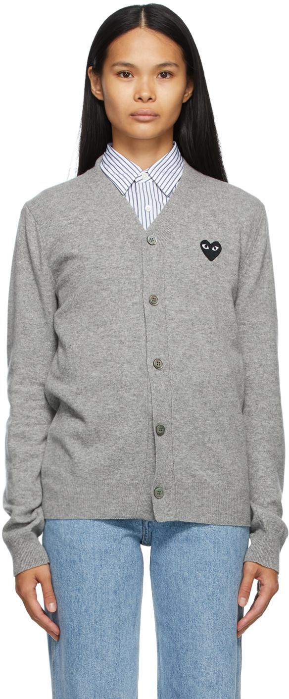 Comme des Garçons Play 灰色 Heart Patch 羊毛 V 领开衫