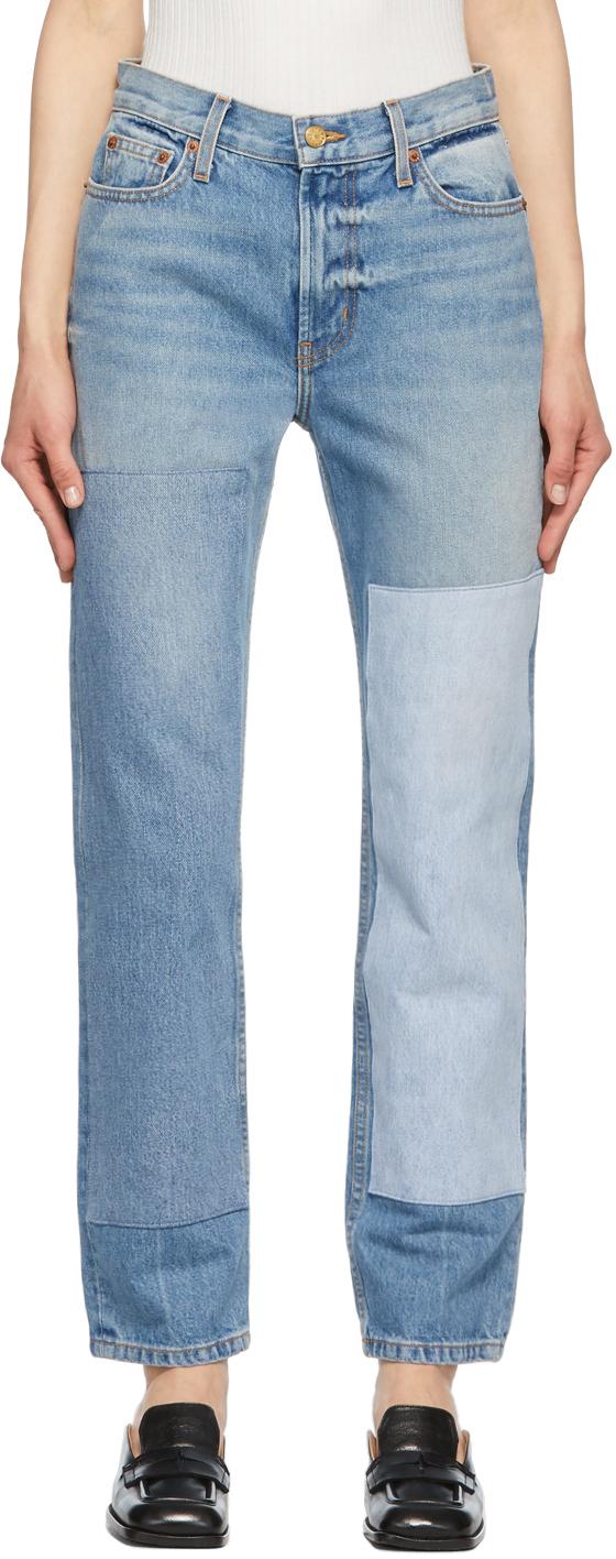 B Sides 蓝色 Arts Straight Vintage Patchwork No. 2 牛仔裤