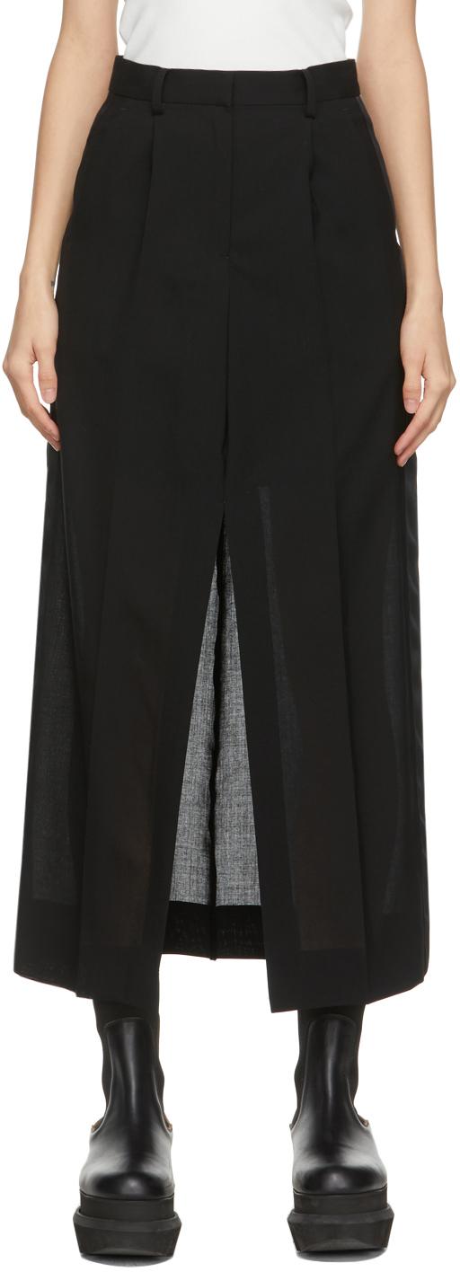 Sacai 黑色 Suiting 羊毛半身裙