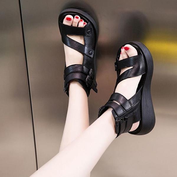 魚嘴涼鞋女夏季厚底羅馬鞋軟底休閒鬆糕鞋增高沙灘鞋女坡跟涼鞋子