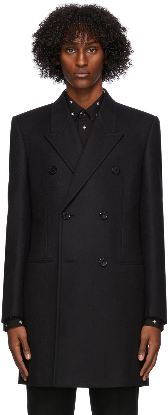 Saint Laurent 黑色双排扣大衣