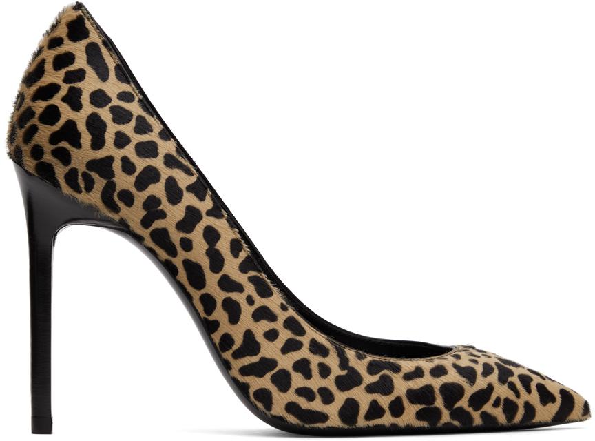 Saint Laurent 驼色 Anja 豹纹小牛毛高跟鞋