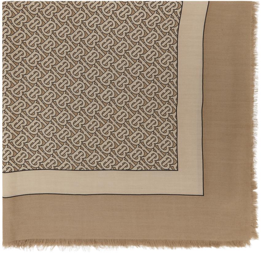 Burberry 黄褐色 Monogram 羊绒围巾