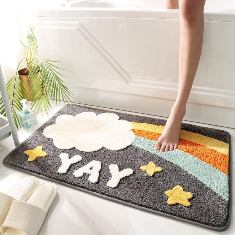 浴室地墊 家用衛生間地墊浴室吸水防滑墊臥室廁所門口腳墊入戶進門墊子地毯
