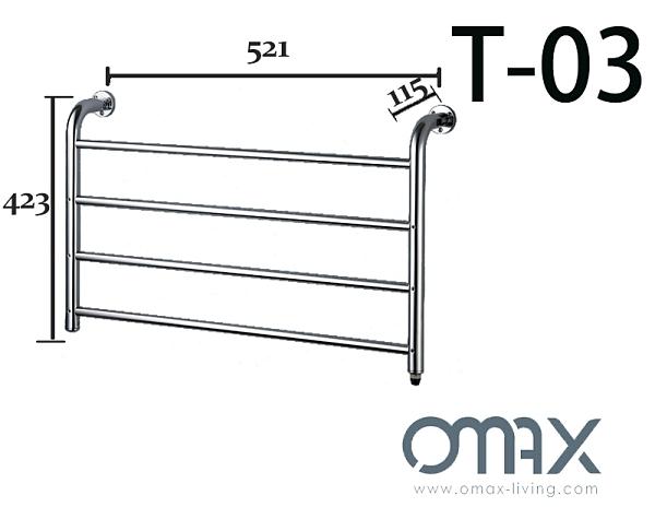 電熱毛巾架/加熱毛巾桿 T-03 寬度52公分 4橫桿