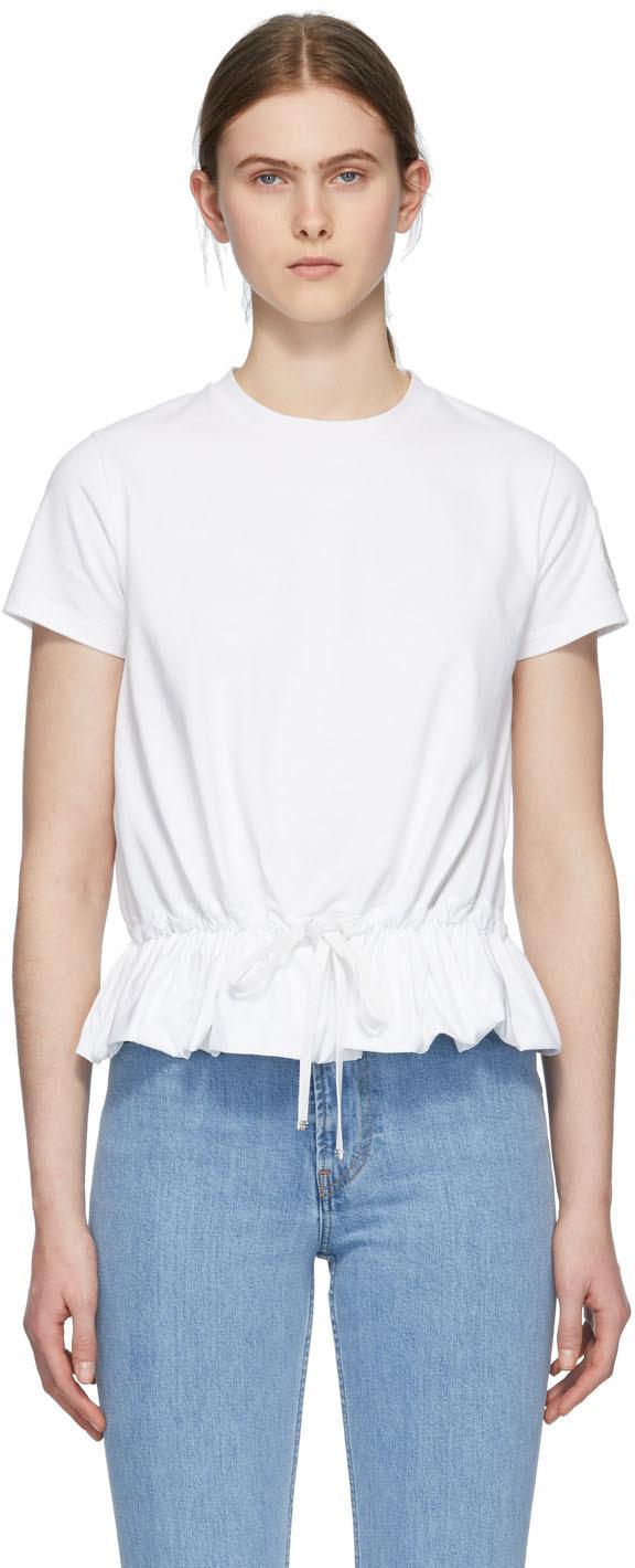 Moncler 白色荷叶边 T 恤