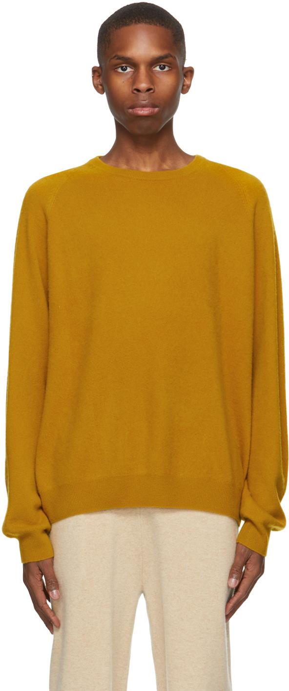 Frenckenberger 黄色 R-Neck 羊绒毛衣