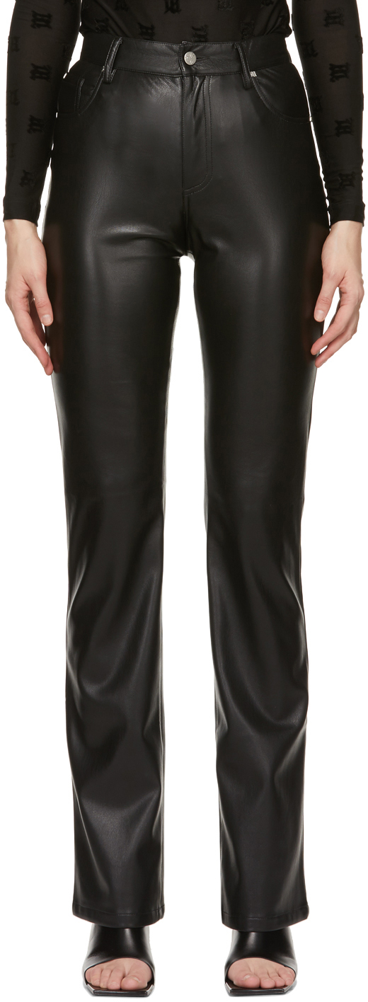 MISBHV 黑色纯素皮革长裤