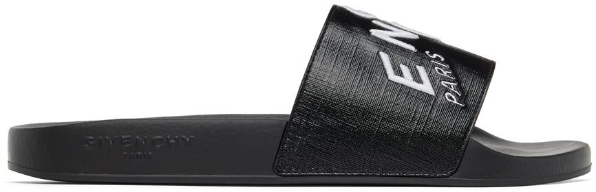 Givenchy 黑色徽标刺绣拖鞋